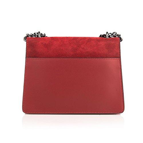 GENEVRA Umhängetasche Handtasche mit Kette und Schließen von Zubehör metallischen dunklem Nickel, Glatteleder und Wildleder, Hergestellt in Italien turteltaube