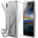 LK Coque pour Sony Xperia L3, Souple Flexible Silicone Gel Housse TPU Case Cover avec Verre Trempé Protection écran[1 Pièces] pour Sony Xperia L3 - Clair