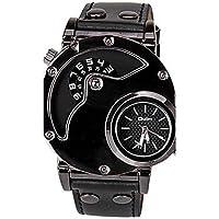 Belles montres, Oulm Homme Unique Creative Montre Montre Habillée Montre Tendance Montre de Sport Quartz Montre Décontractée Cuir Bande Décontracté Cool