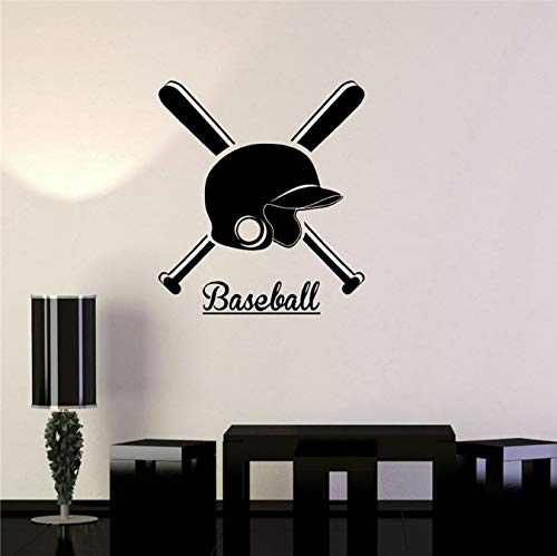 HLZLA Vinyl Aufkleber Baseball Helm Bat Sport Wandaufkleber wohnkultur Kunst Dekor Wandaufkleber 58x52 cm -
