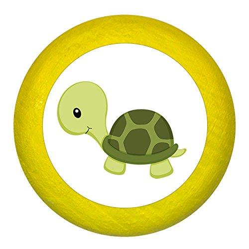 """Kommodengriff\""""Schildkröte oliv\"""" gelb Holz Kinder Kinderzimmer 1 Stück Waldtiere Traum Kind"""
