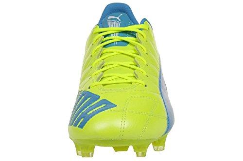 Puma Evospeed Sl Lth Fg, Chaussures de football homme safety yellow-atomic blue-white 04