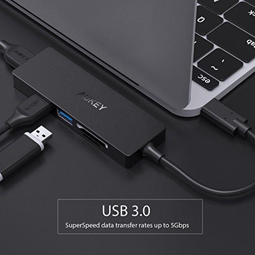 41amSi1K1bL - [amazon] AUKEY USB-C Hub mit USB 3.0 SD und Micro SD Kartenslots für nur 13,99€ statt 18,99€ *PRIME*