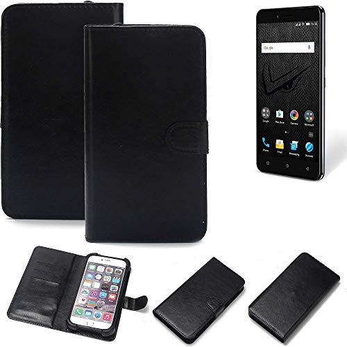 K-S-Trade 360° Wallet Case Handyhülle Allview V2 Viper XE Schutz Hülle Smartphone Flip Cover Flipstyle Tasche Schutzhülle Flipcover Slim Bumper schwarz, 1x