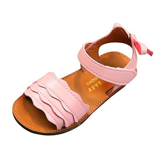 Somesun bambini kid girls wave bowknot orecchio sandali da spiaggia antiscivolo scarpe casual donna estivi bambino fondo morbido sportive per bambini moda romane (24, pink)