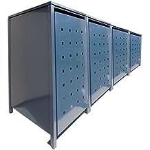 BBT@ | Solide Mülltonnenbox für 4 Tonnen je 120 Liter mit Klappdeckel in Grau (RAL 7016) / Stanzung 1 / Aus robustem pulver-beschichtetem Metallblech / Versch. Farben + Blech-Stanzungen erhältlich / Mülltonnen-Verkleidung Müll-Boxen Müll-Container