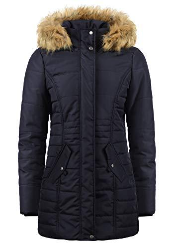 VERO MODA Nadia Damen Winter Jacke Parka Mantel Winterjacke gefüttert mit Kunst-Fellkapuze, Größe:M, Farbe:Night Sky