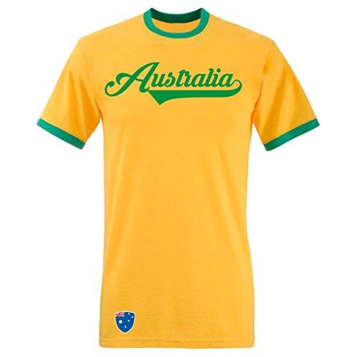 Australien - T-Shirt Ringer Retro TS WM EM Trikot Look (XL)
