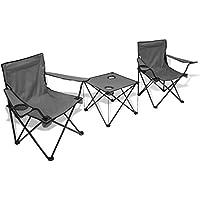vidaXL Mesa de Camping Pack de Tres Piezas y 2 Sillas de Color Gris Material PVC