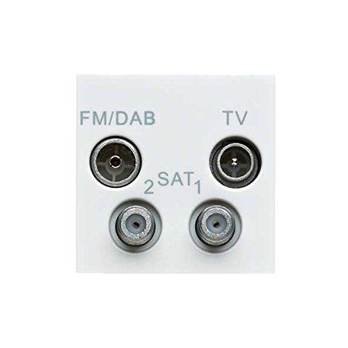 MK Electric Logic Plus TV-FM/Dab-2Xsat Quad-Ausgänge, 2 Euro Multimedia-Modul für Digital-TV Digital Plus Digital Quad