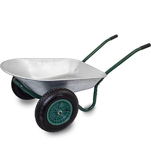 BITUXX® Stabile 2-Rad Bau Schubkarre Baukarre Zweiradkarre Gartenkarre Schubkarren Muldenkarre Verzinkt 100L / Traglast bis 150kg (Rad Bau)