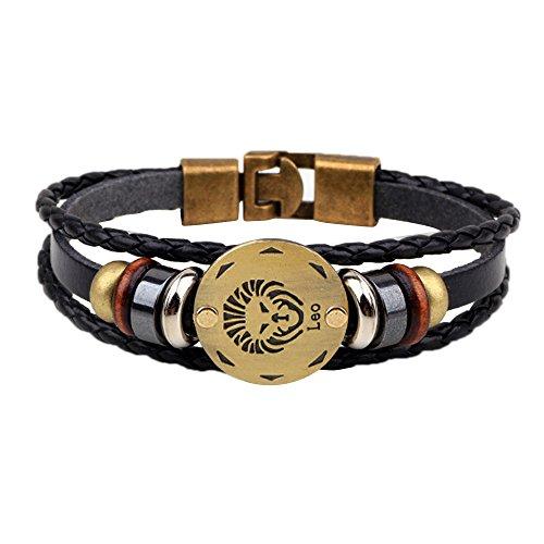 ODJOY-FAN 18g 12 Sternbilder Armband Mode Leder Armreifen Schmuck Persönlichkeit Handketten Frau Charm-Armbänder Bracelet (G,1 PC)