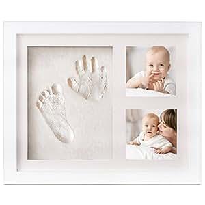 TASIPA Baby Footprint Kit per impronte digitali per bambini e ragazze, Kit per argilla per telaio Regali per neonati per il registro di battesimo, cornice per cornici in legno Memorie memorabili per l