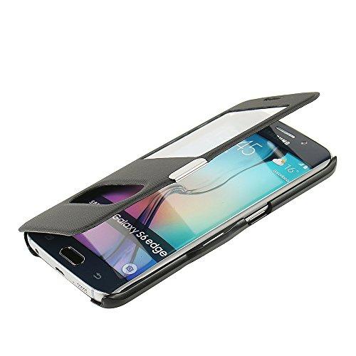 MTRONX pour Coque Samsung Galaxy S6 Edge, Cover Etui Housse Poche Cas Couverture Double Fenetre Vue Ultra Slim Folio Flip Magnetic Twill PU Cuir Serge pour Galaxy S6 Edge - Noir(MG2-BK)