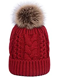 YoungSoul Gorros de punto para mujer de invierno - Gorro de ochos con forro  de polar 8f0c327cd39d