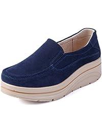 LILY999 Mocassini Donna in Pelle Scamosciata Moda comode Loafers Scarpe da  Guida Scarpe con Zeppa 7bcac5040d8