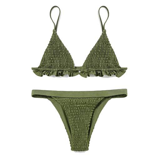 A0127 Frauen Sexy Zweiteiler Bikini Set Tiefem V-Ausschnitt Plissee Rüschen Trim BH Tiered Geraffte Streifen Einfarbig Badeanzug Niedrige Taille G-String Badeanzug 5 Farben Tiered Slip