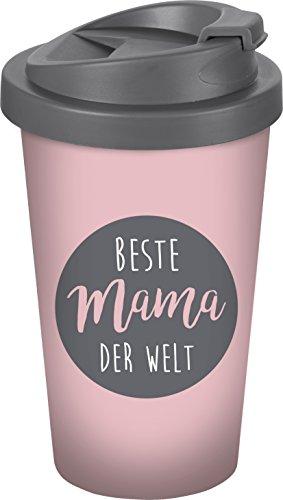 infinite by GEDA LABELS (INFKH) Beste Mama der Welt Coffee to go Becher, Kunststoff, Grau, 9 x 9 x 17 cm