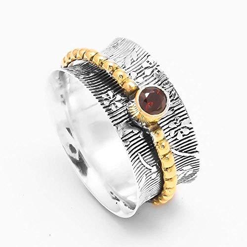 Granat Spinner Ring, 925 Sterling Silber Ring, Meditation Herren Ring, breites Band Ring, roter Stein Ring, sorgen texturierte Frauen Ring für Frauen