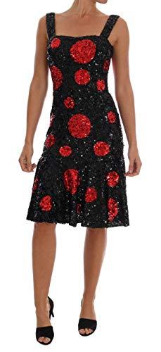 Black Red Polka Sequined Shift Dress - Dolce & Shift Gabbana