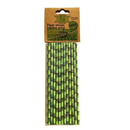 Esschert Design Lot de 24 pailles Papier avec pression, ø 0,6 x 20 cm, 100% bio Bambou, compostable, avec motif bambou