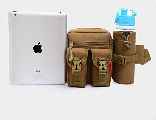 wewod Sport marsupio Tactical con borraccia e cinghia regolabile/Marsupio custodia per campeggio escursionismo Outdoor/Mode multifunzione kit bag, Digital-Dschungel Digital-Dschungel