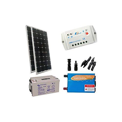 """Kit Solar Cabina Base 200W 12V Placa solar Monocristalino + Controlador de Carga + Batería + Inversor Onda Modificada Los """"Kit Solar Cabina Base"""" son útiles y relevantes para aquellos que poseen una cabaña, casa de campo o junto al mar, o al menos e..."""