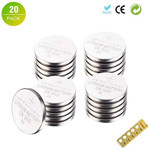 BESTCASESKIN [20 Stück] Electronics CR2032 3V Batterien CR 2032 Lithium Knopfzelle 3 Volt Batterie 20er Pack Knopfzellen in Original