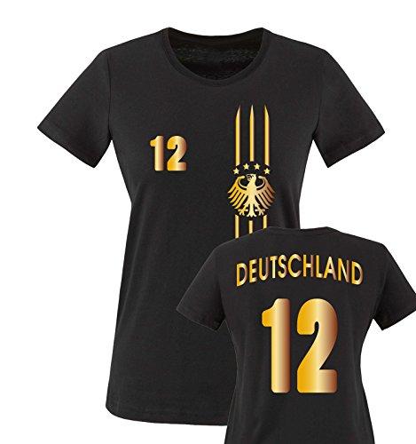 EM 2016 - TRIKOT - MOTIV1 - DEUTSCHLAND - 12 - Damen T-Shirt - Schwarz / Gold Gr. XL