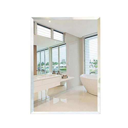 Miroirs Salle De Bain Poinçonnage Salle De Bains Mur Coiffeuse en Verre Laver Salle De Bains Carré (Color : Silver, Size : 50 * 60 * 3cm)