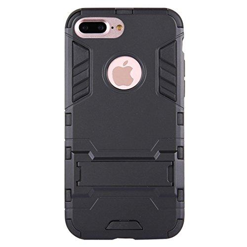 Hülle für iPhone 7 plus , Schutzhülle Für iPhone 7 Plus Trennbare TPU + PC Kombi-Gehäuse mit Halter ,hülle für iPhone 7 plus , case for iphone 7 plus ( Color : Silver ) Black