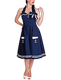 Hell Bunny - Motley 50s Dress Rockabilly Kleid Blau/Weiß ohne Petticoat (XS-XL)