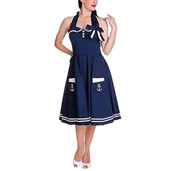 Hell Bunny - Motley 50s Dress Rockabilly Kleid Blau/Weiß ohne Petticoat (XS-XL), Blau, XS