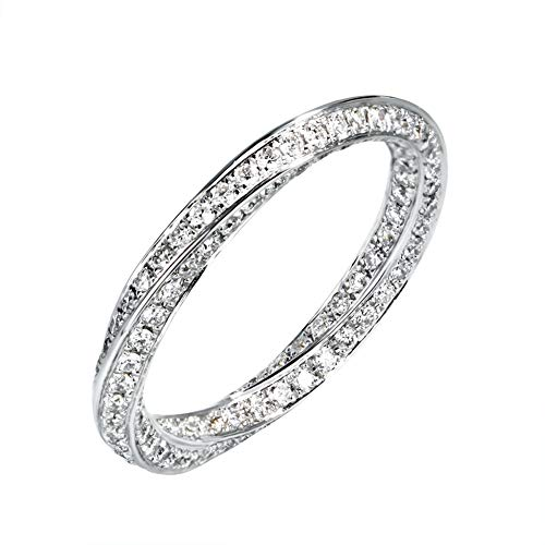 1.0 cttw Diamond Ring, Petite Diamond Wedding Band in 18K White Gold,12(16.1mm) (Gold White K Band Wedding 18)