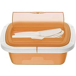Rotho 1746201100 Snackbox Scatola Porta merenda Quick und Safe, 1 contenitore ermetico con posate, privo di BPA e sostanze nocive, prodotto in Svizzera, 21 x 15 x 7,5 cm, arancione/bianco
