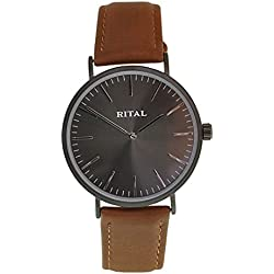 Women's Watch RITAL Black Metal Case and Silver Indexes Black Color Dial and Brown Band / Elegant Design