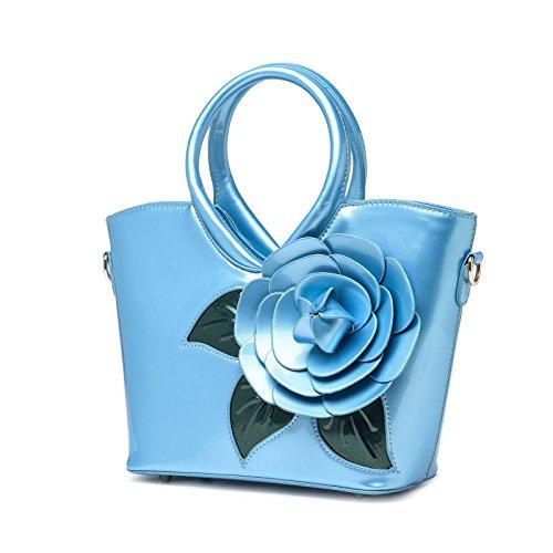 KAXIDY Borse Vernice Pelle Borsa Fiore Borse Eleganti Borse Tracolla Totalizzatore Blu