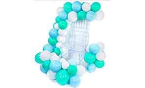 PuTwo Blue and White Balloons 60 pcs 10 Inch Teal Balloons Turquoise Balloons Pale Blue Balloons White Balloons for Boy Baby Shower Decorations, Blue Party Decorations, Boy Baby Shower, Boy Birthday