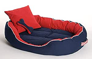 PETSHUB Elite Dog/Cat Ultra Soft Reversible Bed with 2 Extra Pillows (Red and Blue, XL)