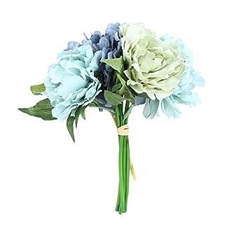 WEIWEITOE-ES 5 Cabezas con Encanto Especial peonía Ramo Nupcial Flores Artificiales Boda Fiesta en casa año Nuevo decoración Ramo, Azul,