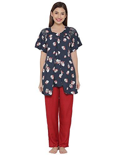 Clovia Cotton Rich Printed Top & Pyjama Maternity Set