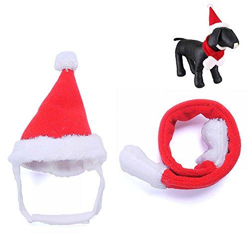 GOOTRADES 2 Stk Haustier Katze Hund Weihnachtsmütze + Schal Weihnachten Rot Urlaub Kostüm ()