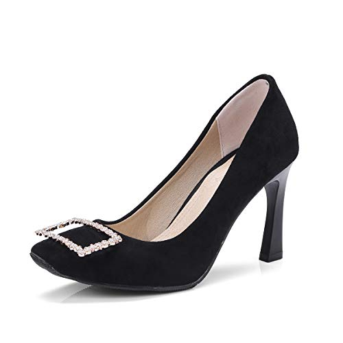 GDXH Neue Schuhe,Womens High Heels Suede Square Head Metal Buckle Beautifully Fashion Ballet Square Head Comfortable and Light for Shopping or Party,Black,35EU Buckle Womens High Heel
