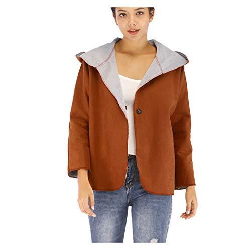 LOLIANNI Damen Winter warme braune Jacke Damen Langarm Vintage Kapuzenpulloverhirt Damen Langarm Brief Outwear