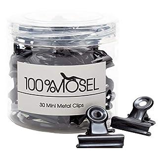 Mini Metallklammern | 20 mm | 30 Stück | Briefklemmer Papierklammern Büroklemmen | Paper Binder Bulldog Design Clips Büro (Klammern Schwarz)