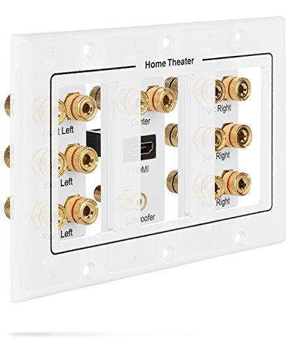 Fosmon [3-Gang 7.1 Surround Sound] Heimkino-Wandplatten Vergoldet Kupfer-Banane Bindung Pfosten Coupler Typ Wandplatte für 7 Lautsprecher und 1 RCA Buchse für Subwoofer & 1 HDMI Ports (Weiß) - 4