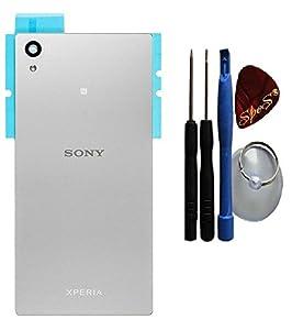 Reparatur Set : ORIGINAL Sony Xperia Z5 E6653 E6603 Akkudeckel in weiß/silber+ Klebefolie + Werkzeug-Set + Reparaturanleitung (Austausch des Backcovers ) von SPES®