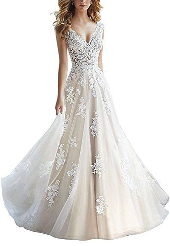 Mingxuerong 2018 Damen elegante A Linie Brautkleider V-Ausschnitt Hochzeitskleider Elfenbein 42