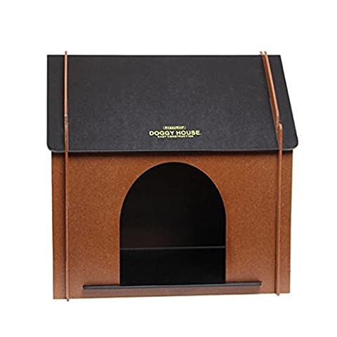 Indoor Puppy Small Dog Kennel Pet House Chalet MDF Brown Crate Bed Room 53x52cm