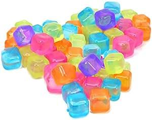 COM-FOUR® 60x Glaçons réutilisables de différentes couleurs, glaçons de fête pour rafraîchir les boissons (060 pièces - dés)